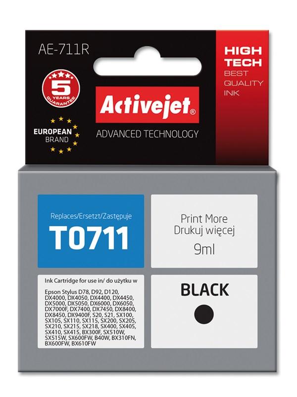 Tusz Activejet AE-711R do drukarki Epson, Zamiennik Epson T0711, T0891, T1001;  Premium;  9 ml;  czarny.