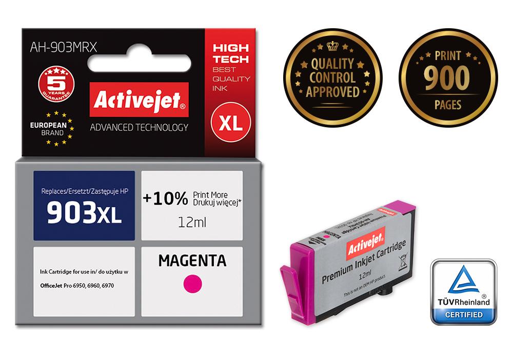 Tusz Activejet AH-903MRX do drukarki HP, Zamiennik HP 903XL T6M07AE;  Premium;  12 ml;  purpurowy. Drukuje więcej o 10%.
