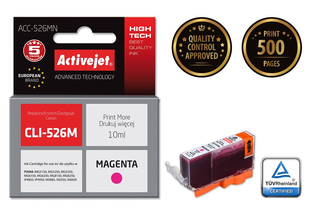 Tusz Activejet ACC-526MN do drukarki Canon, Zamiennik Canon CLI-526M;  Supreme;  10 ml;  purpurowy.