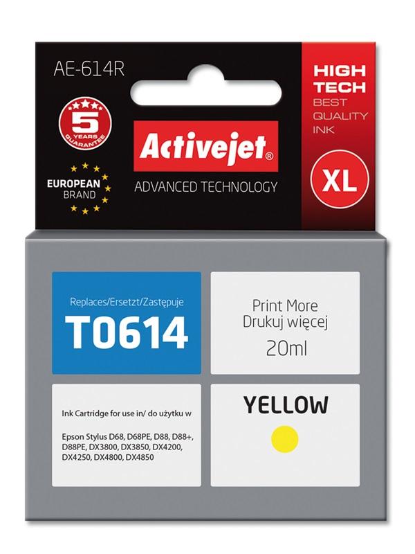 Tusz Activejet AE-614R do drukarki Epson, Zamiennik Epson T0614;  Premium;  18 ml;  żółty.