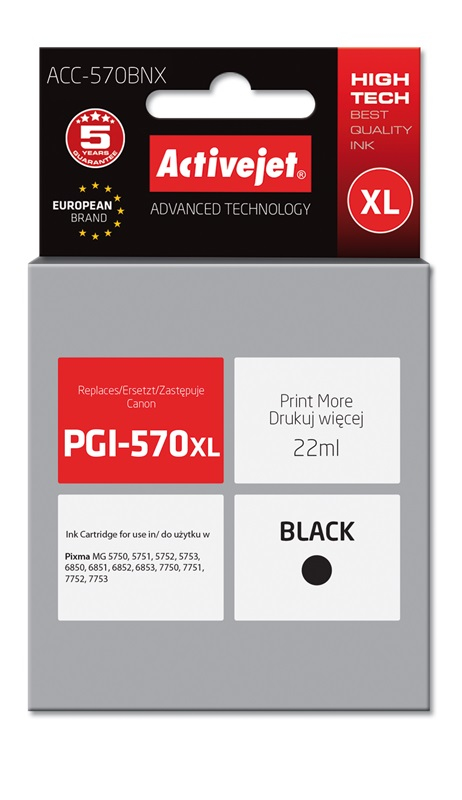 ActiveJet ACC-570BNX tusz czarny do drukarki Canon (zamiennik Canon PGI-570Bk XL) Supreme/ chip