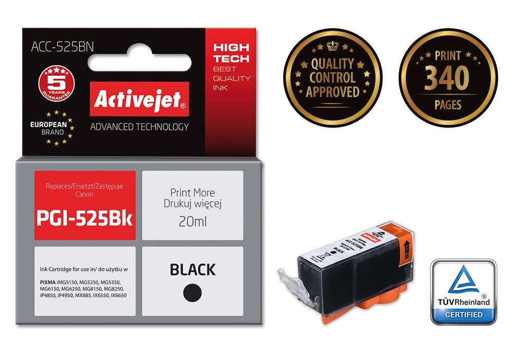 ActiveJet ACC-525Bk tusz czarny do drukarki Canon (zam. PGI-525Bk) (CHIP)