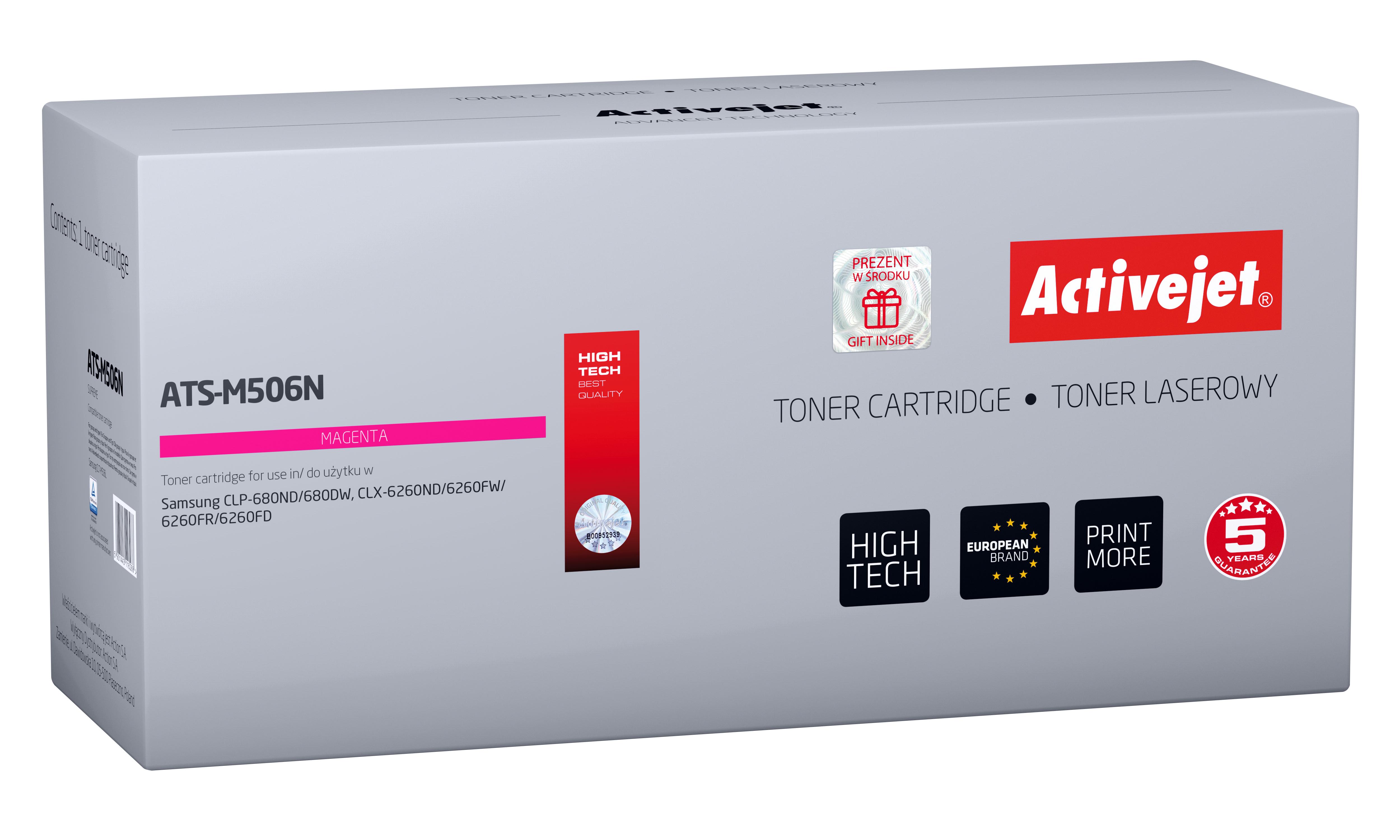 Toner Activejet ATS-M506N do drukarki Samsung; zamiennik CLT-M506L; Supreme; 3500 stron; czerwony.