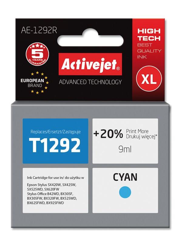 Tusz Activejet AE-1292R do drukarki Epson, Zamiennik Epson T1292;  Premium;  9 ml;  błękitny. Drukuje więcej o 20%.
