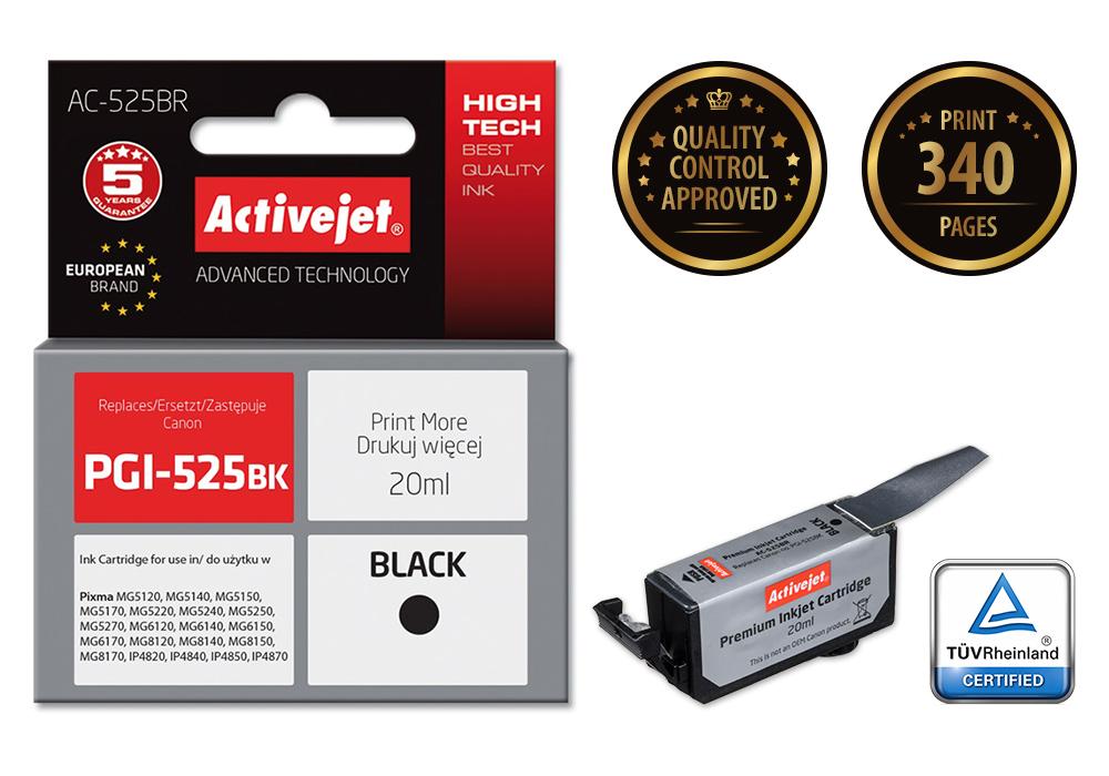 Tusz Activejet AC-525BR do drukarki Canon, Zamiennik Canon PGI-525PGBK;  Premium;  20 ml;  czarny.