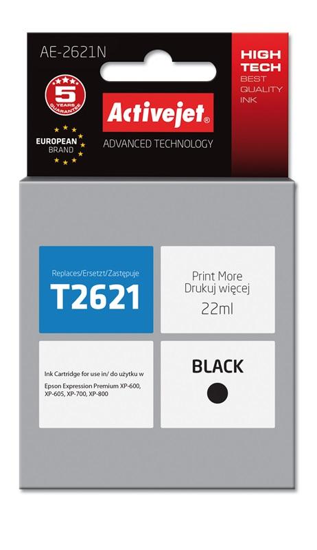 Tusz Activejet AE-2621N do drukarki Epson, Zamiennik Epson 26 T2621;  Supreme;  22 ml;  czarny.