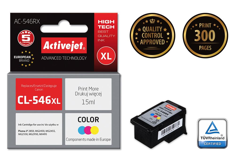 Tusz Activejet AC-546RX do drukarki Canon, Zamiennik Canon CL-546XL;  Premium;  15 ml;  kolor.