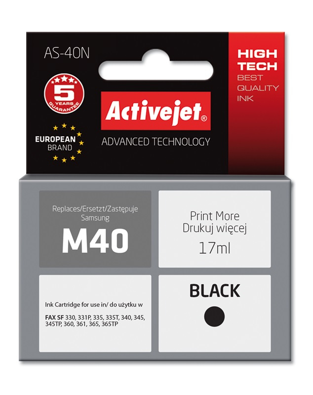 Tusz Activejet AS-40N do drukarki Samsung, Zamiennik Samsung M40;  Supreme;  17 ml;  czarny.