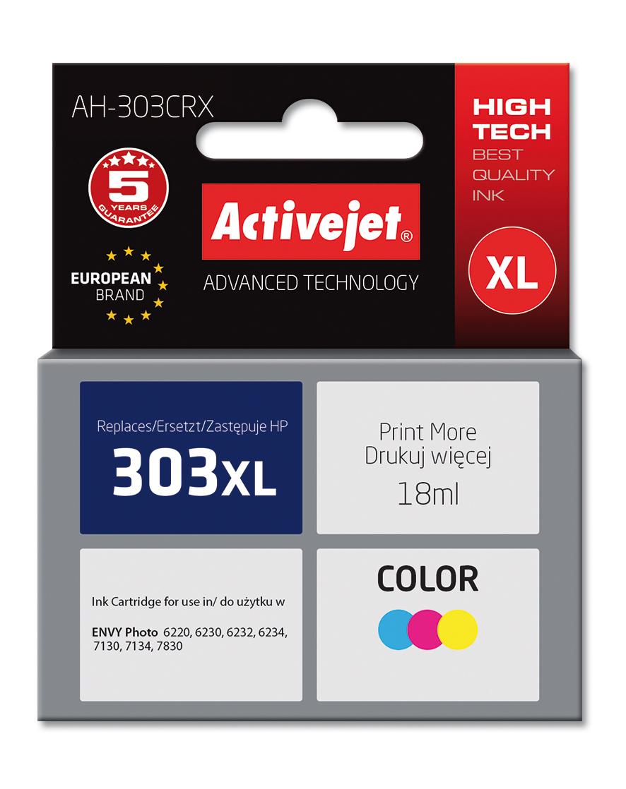 Tusz ActiveJet AH-303CRX do drukarki HP; zamiennik 303XL T6N03AE; Premium; 18ml; kolor.