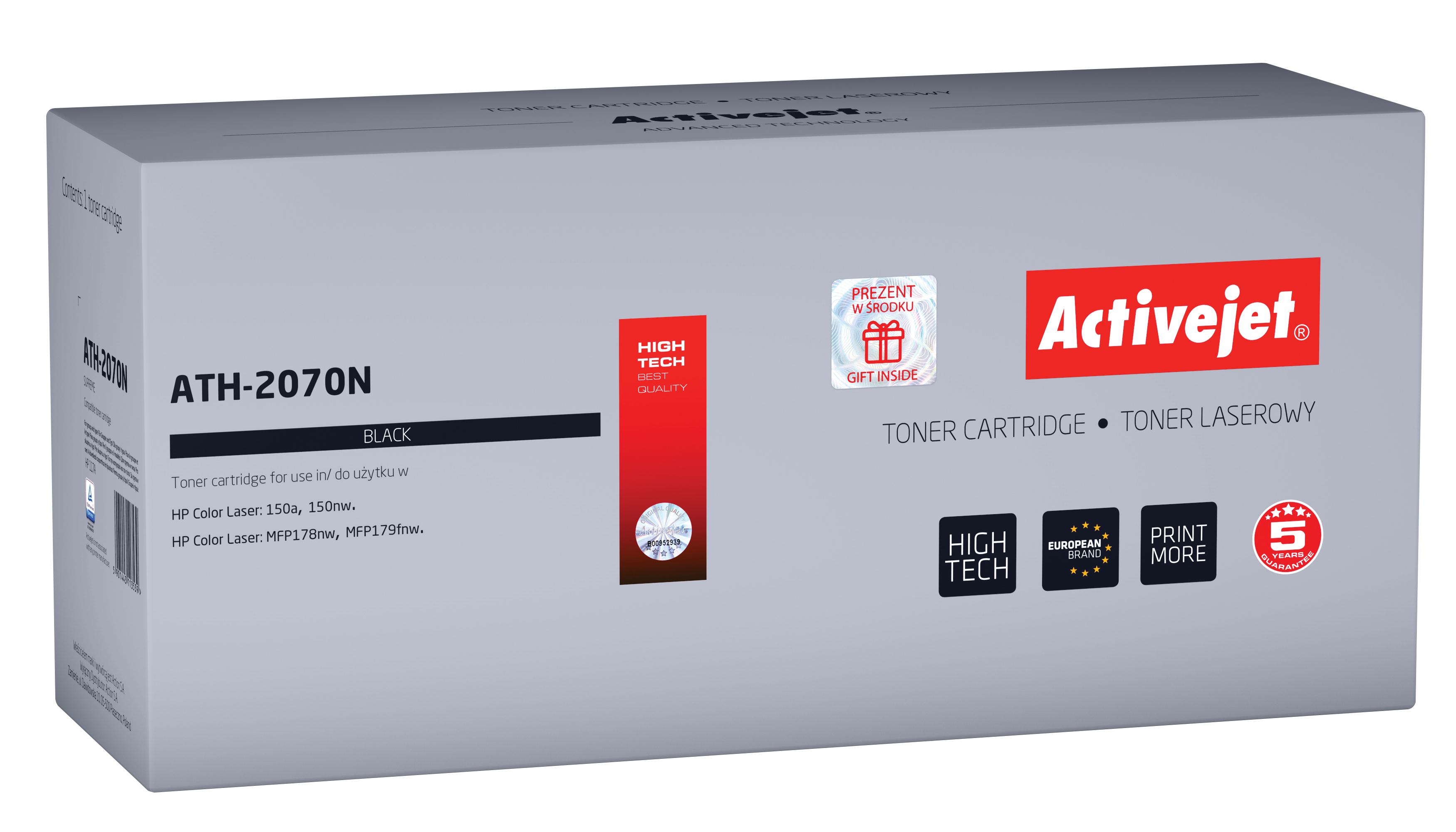 Toner Activejet ATH-2070N do drukarek HP, Zamiennik HP 117A 2070A; supreme; 1000 stron; czarny.