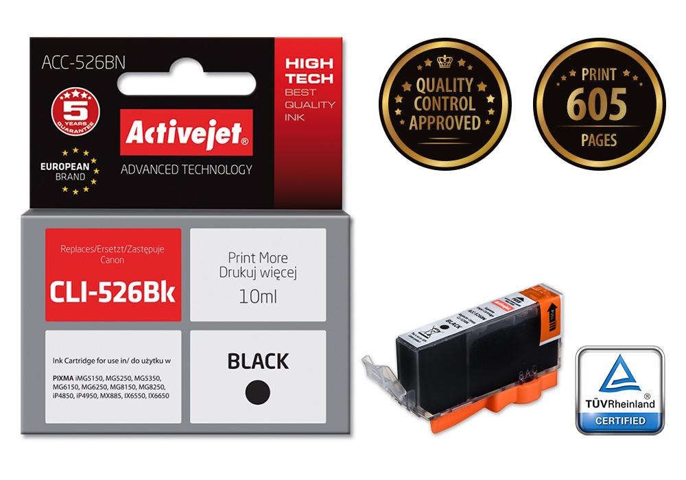 Tusz Activejet ACC-526CN do drukarki Canon, Zamiennik Canon CLI-526C;  Supreme;  10 ml;  błękitny.