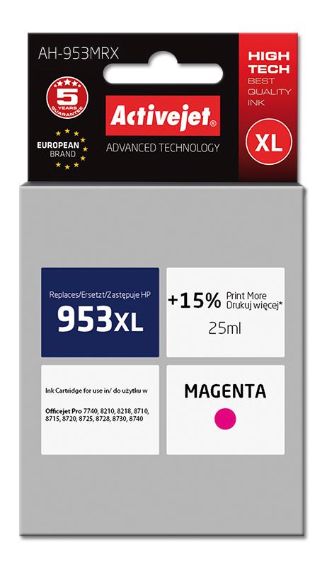 Tusz Activejet AH-953MRX do drukarki HP, Zamiennik HP 953XL F6U17AE;  Premium;  25 ml;  purpurowy. Drukuje więcej o 15%.