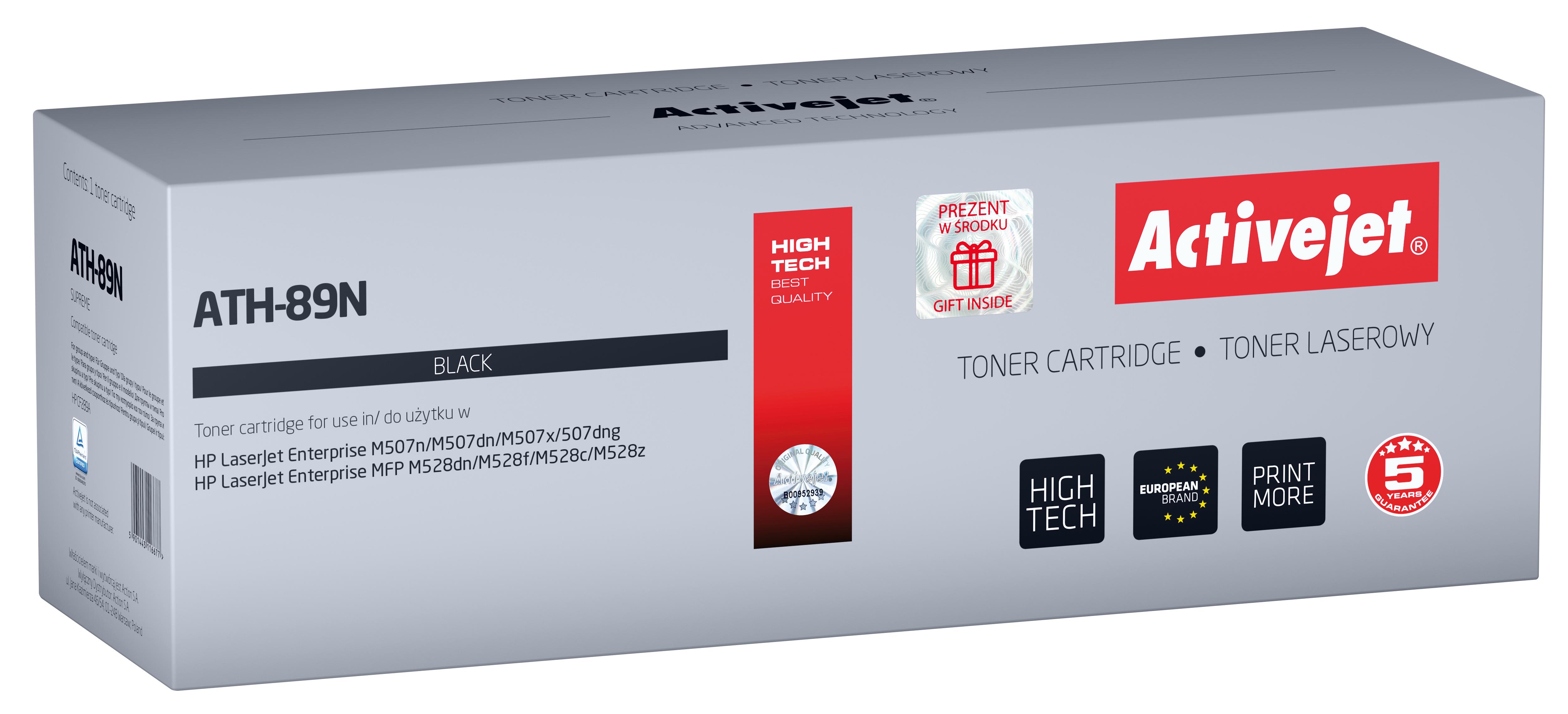 Toner Activejet ATH-89N do drukarek HP; Zamiennik HP CF289A; Supreme; 5000 stron; black - z chipem