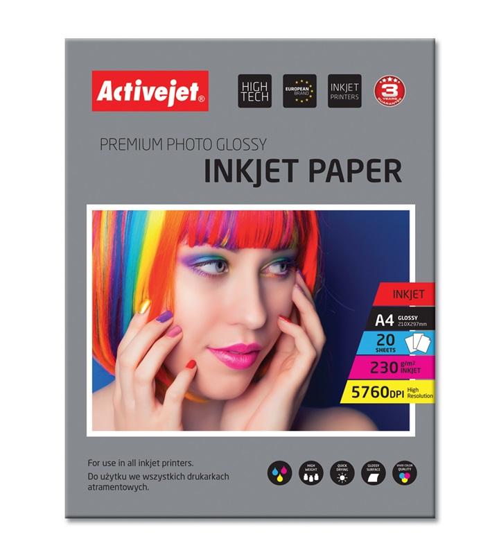 AP4-230G20 Activejet Papier Foto błyszczący A4 20szt 230g...