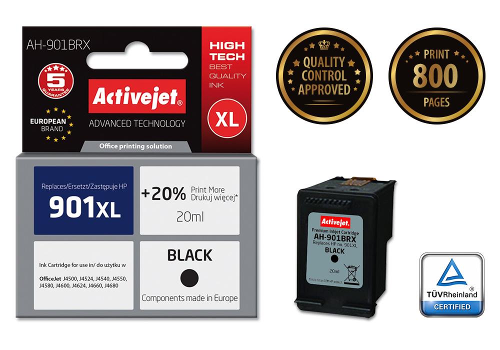 Tusz Activejet AH-901BRX do drukarki HP, Zamiennik HP 901XL CC654AE;  Premium;  20 ml;  czarny. Drukuje więcej o 20%.