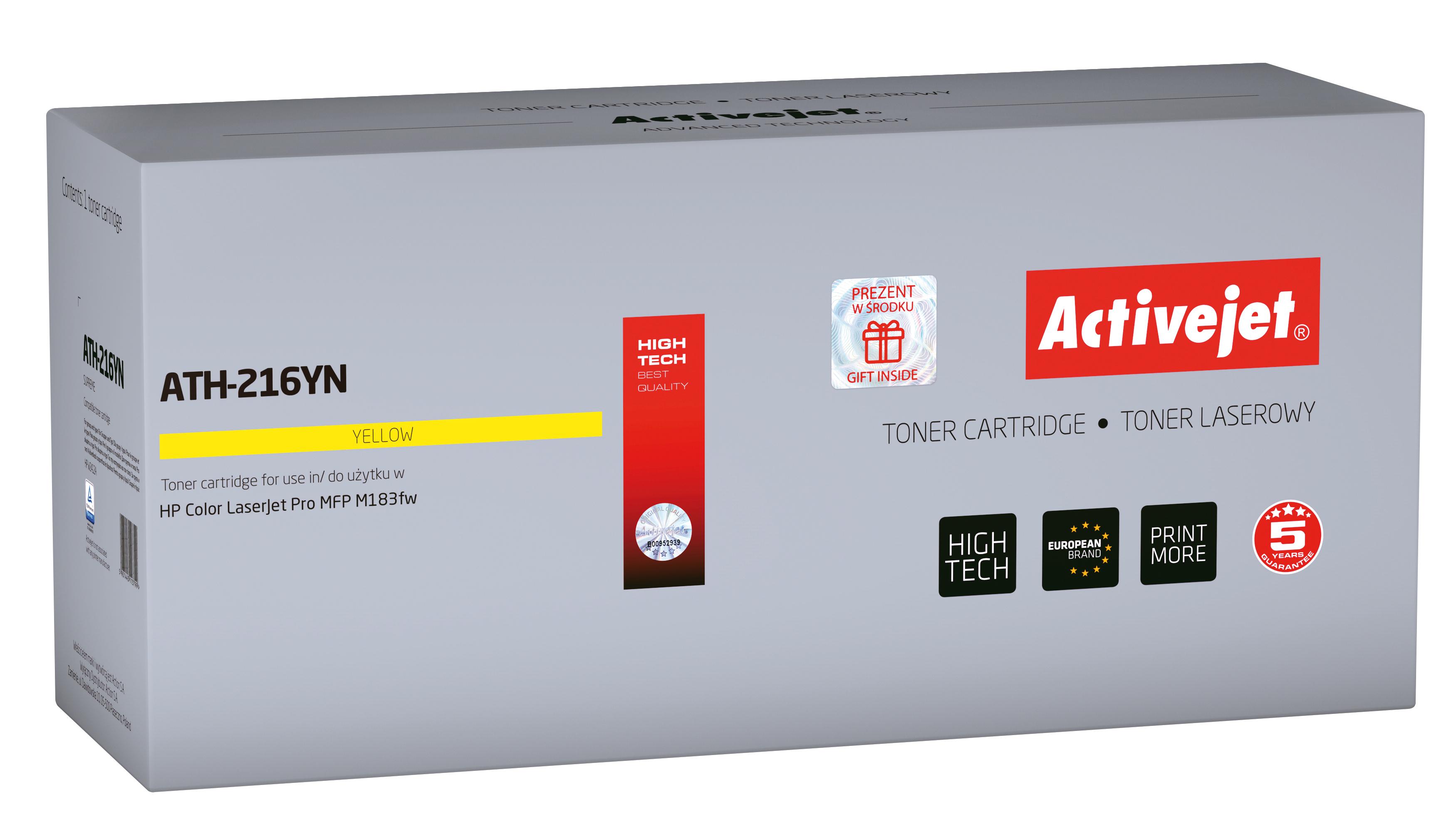 Toner Activejet  ATH-216YN do drukarki HP, Zamiennik HP 216A W2412A; Supreme; 850 stron; Żólty. Brak chipa