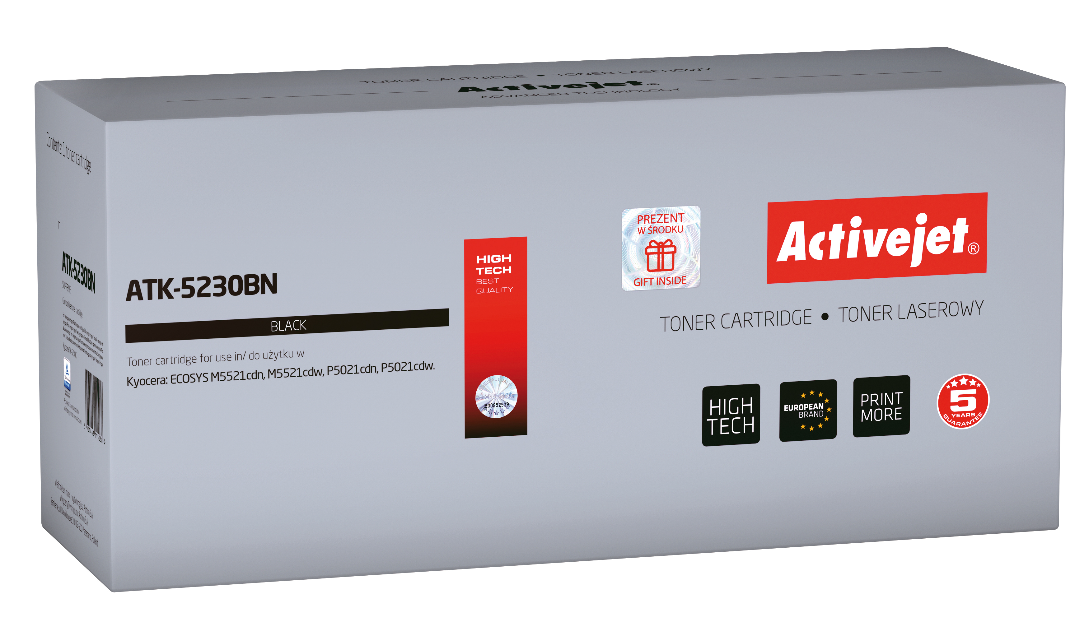Toner Activejet  ATK-5230BN do drukarki Kyocera, Zamiennik Kyocera TK-5230K; Supreme; 2600 stron; Czarny.
