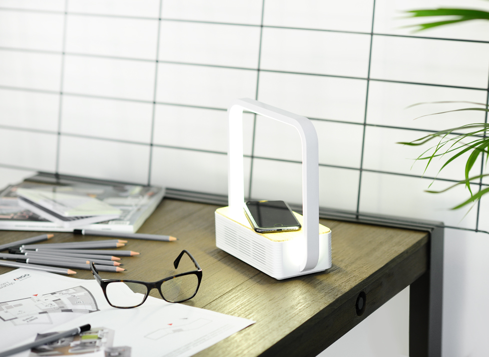 Lampka LED AJE-ORBI bluetooth+bezprz.ładowanie tel