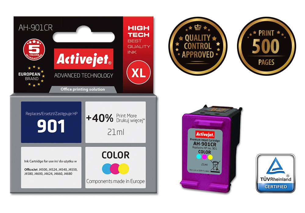Tusz Activejet AH-901CR do drukarki HP, Zamiennik HP 901 CC656AE;  Premium;  21 ml;  kolor. Drukuje więcej o 40%.
