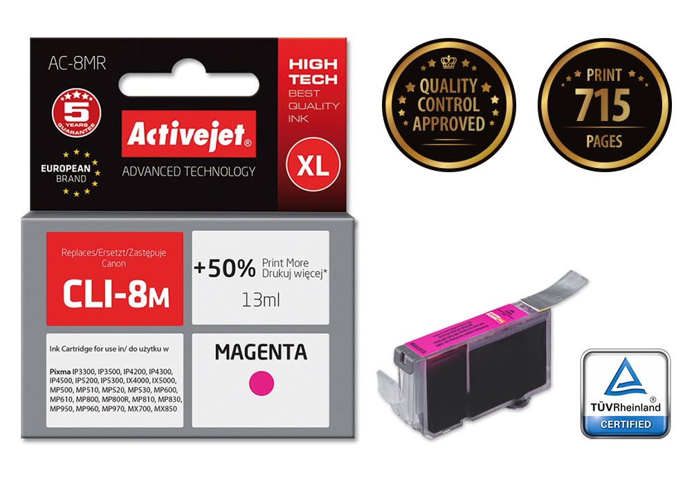 Tusz Activejet Canon CLI-8 Magenta                 ACR-8M