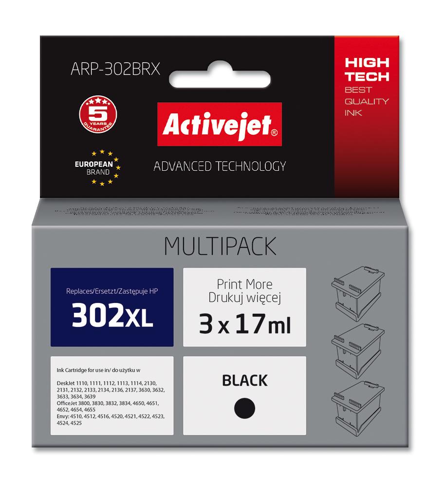 Multipack Activejet ARP-302BRX do drukarki HP, zamiennik 302XL F6U68AE; Supreme; 3szt.x17ml, czarny.