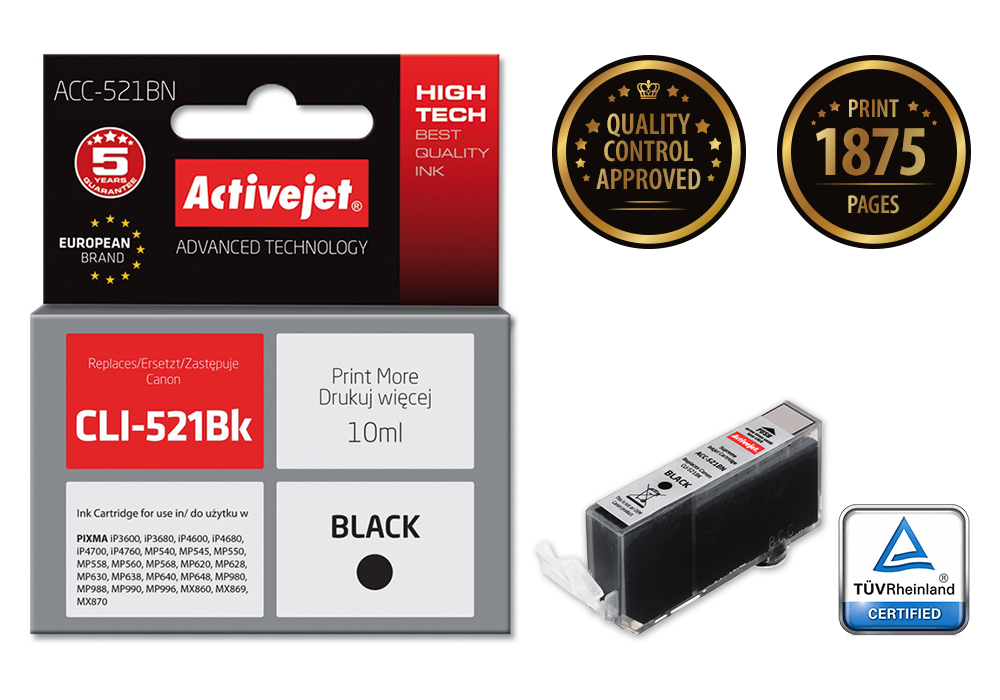 Tusz Activejet ACC-521BN do drukarki Canon, Zamiennik Canon CLI-521Bk;  Supreme;  10 ml;  czarny.