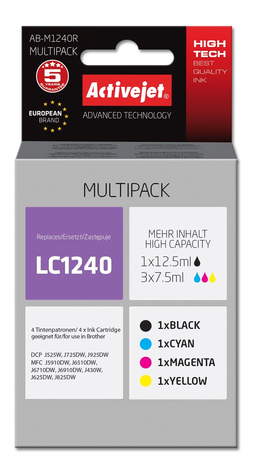 Tusz Activejet AB-M1240R do drukarki Brother, Zamiennik Brother LC1240CMYK; Supreme;  1 x 12,5 ml, 3 x 7,5 ml;  czarny, purpurowy, błękitny, żółty.