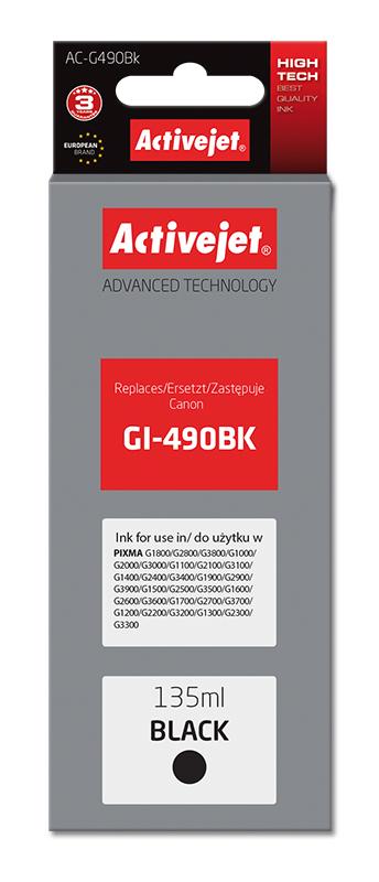 Tusz Activejet AC-G490Bk do drukarki Canon, Zamiennik Canon GI-490BK;  Supreme;  135 ml;  czarny.