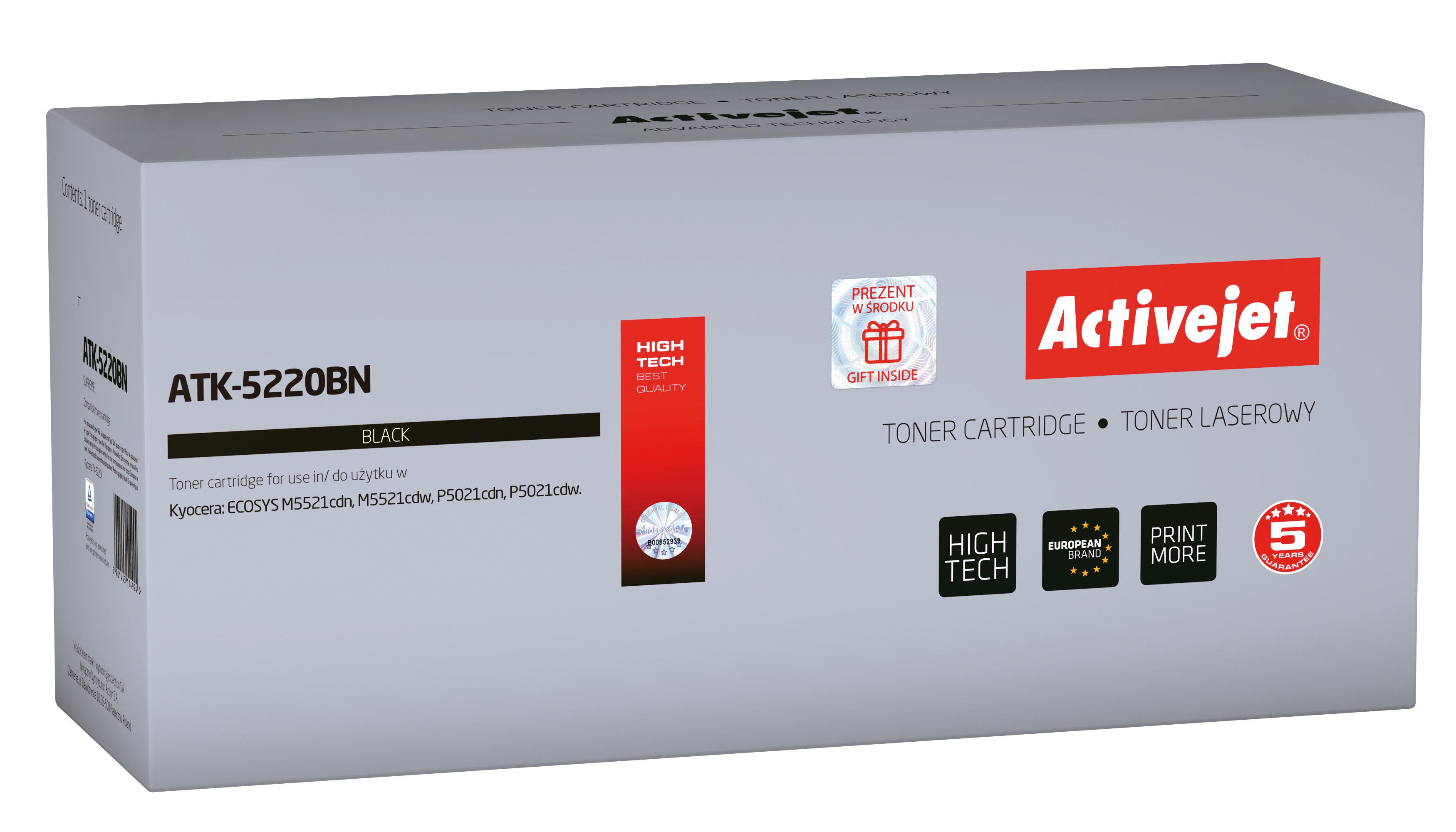 Toner Activejet  ATK-5220BN do drukarki Kyocera, Zamiennik Kyocera TK-5220K; Supreme; 1200 stron; Czarny.