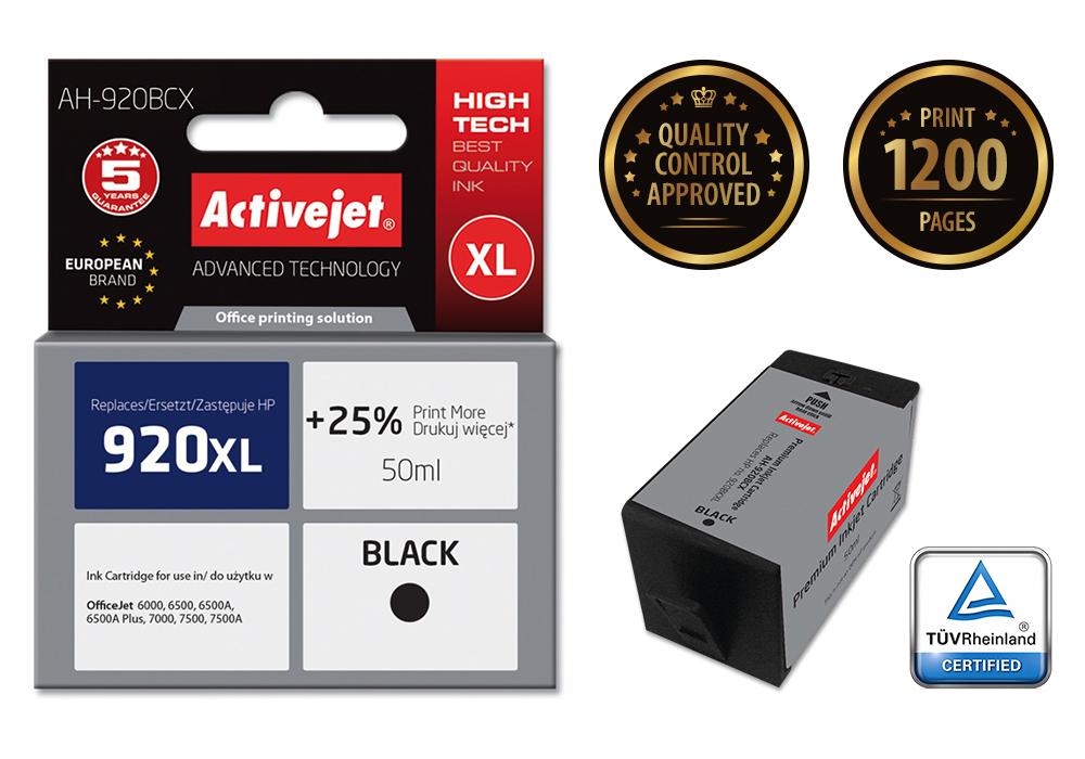 Tusz Activejet AH-920BCX do drukarki HP, Zamiennik HP 920XL CD975AE;  Premium;  50 ml;  czarny. Drukuje więcej o 25%.