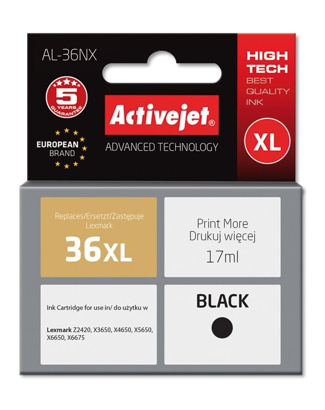 Tusz Activejet AL-36NX do drukarki Lexmark, Zamiennik Lexmark 36XL 18C2170E;  Supreme;  17 ml;  czarny.