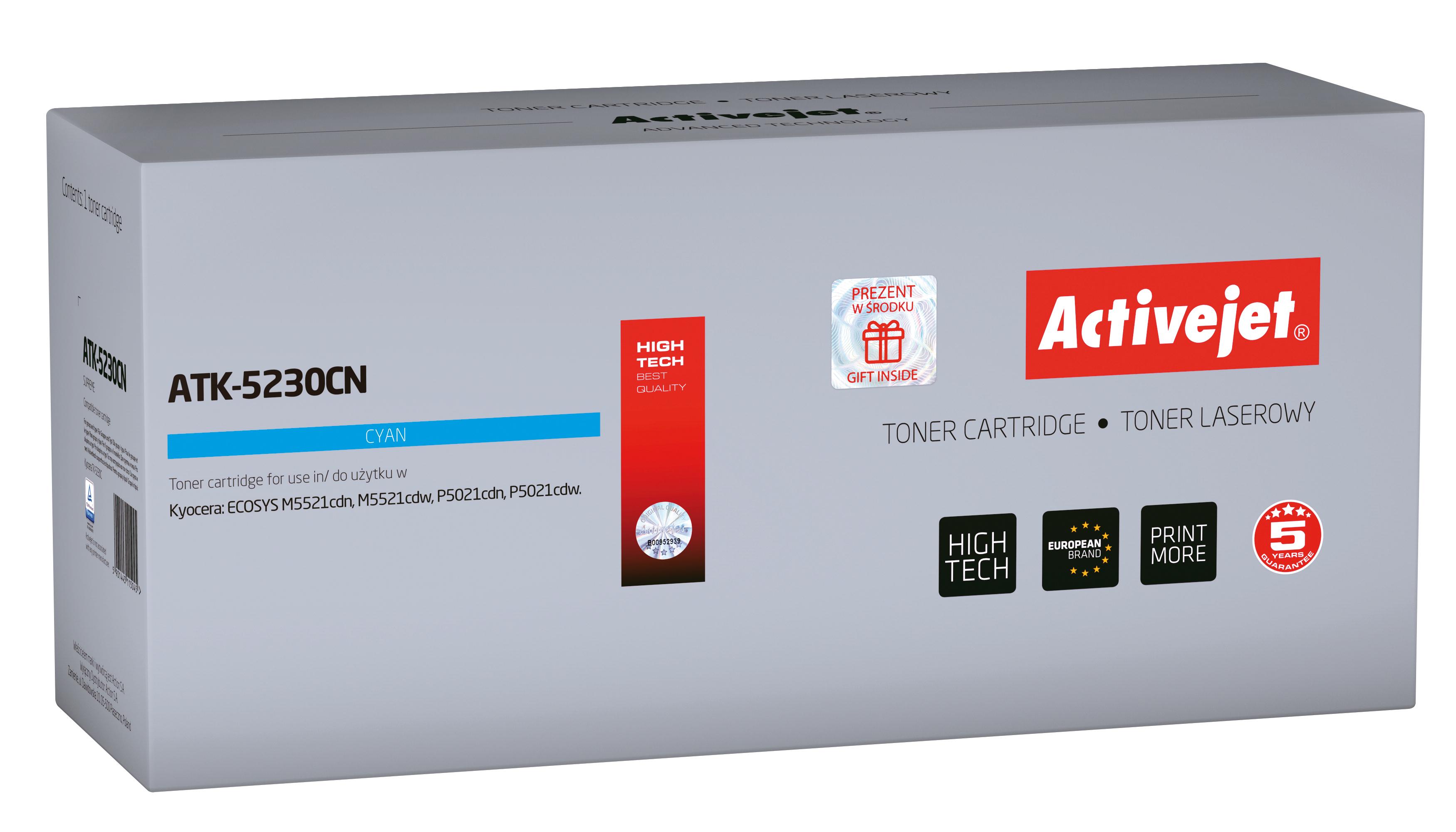 Toner Activejet  ATK-5230CN do drukarki Kyocera, Zamiennik Kyocera TK-5230C; Supreme; 2200 stron; Błękitny.