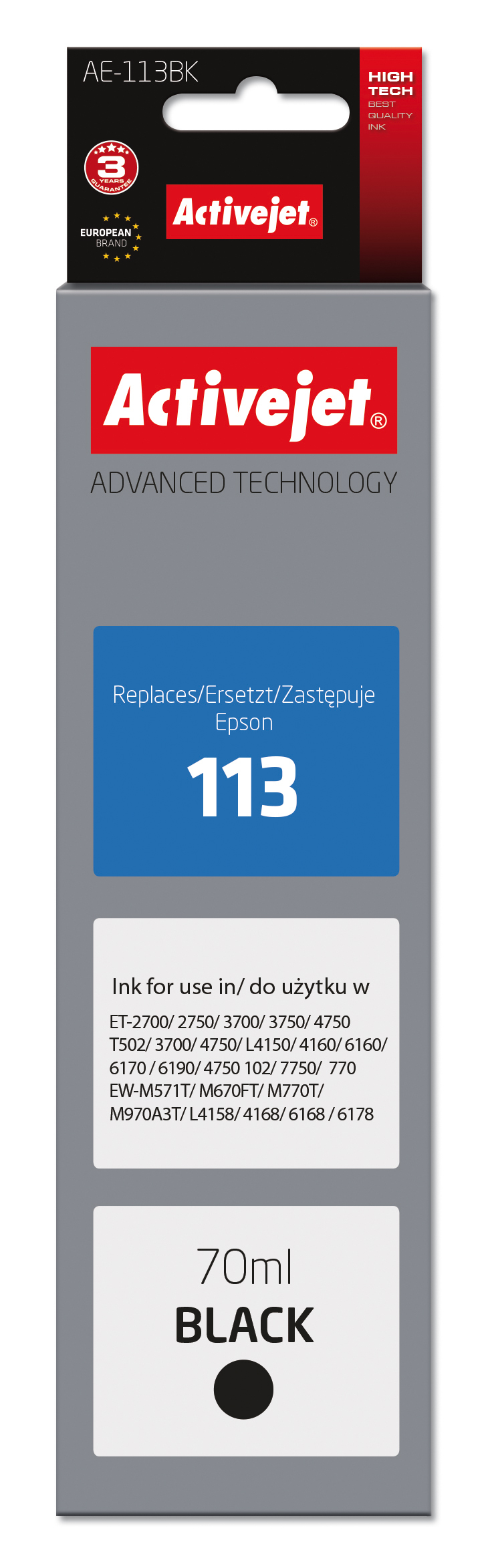 Tusz Activejet AE-113Bk do drukarki Epson, Zamiennik Epson 113 C13T06B140;  Supreme; 70 ml; czarny.