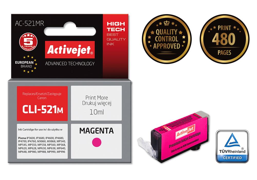 Tusz Activejet AC-521MR do drukarki Canon, Zamiennik Canon CLI-521M;  Premium;  10 ml;  purpurowy.