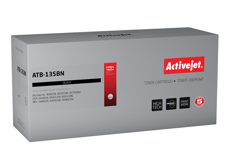 Toner Activejet ATB-135BN do drukarki Brother, Zamiennik Brother TN-130BK/TN-135BK;  Supreme;  5000 stron;  czarny.