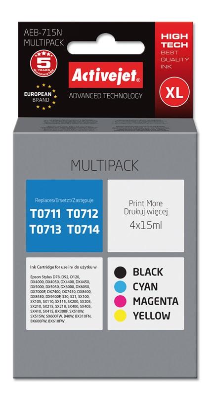Tusz Activejet AEB-715N do drukarki Epson, Zamiennik Epson T0715;  Supreme;  4 x 15 ml;  czarny, purpurowy, błękitny, żółty.