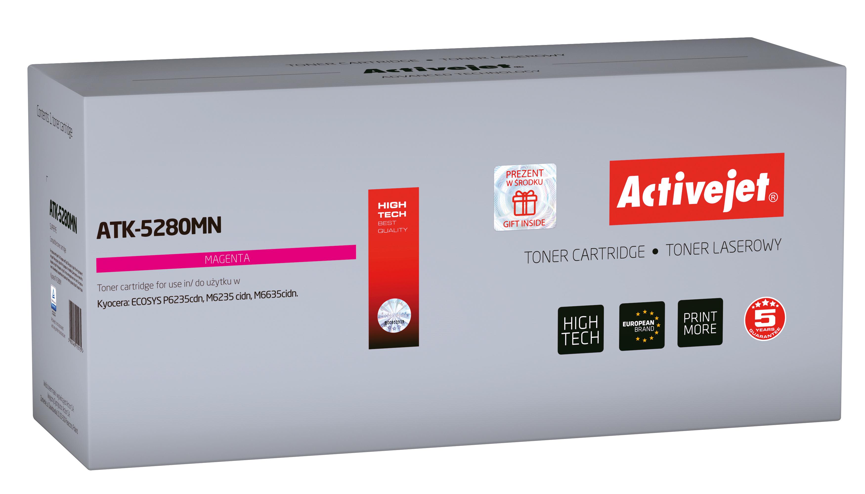 Toner Activejet  ATK-5280MN do drukarki Kyocera, Zamiennik Kyocera TK-5280M; Supreme; 11000 stron; Purpurowy.