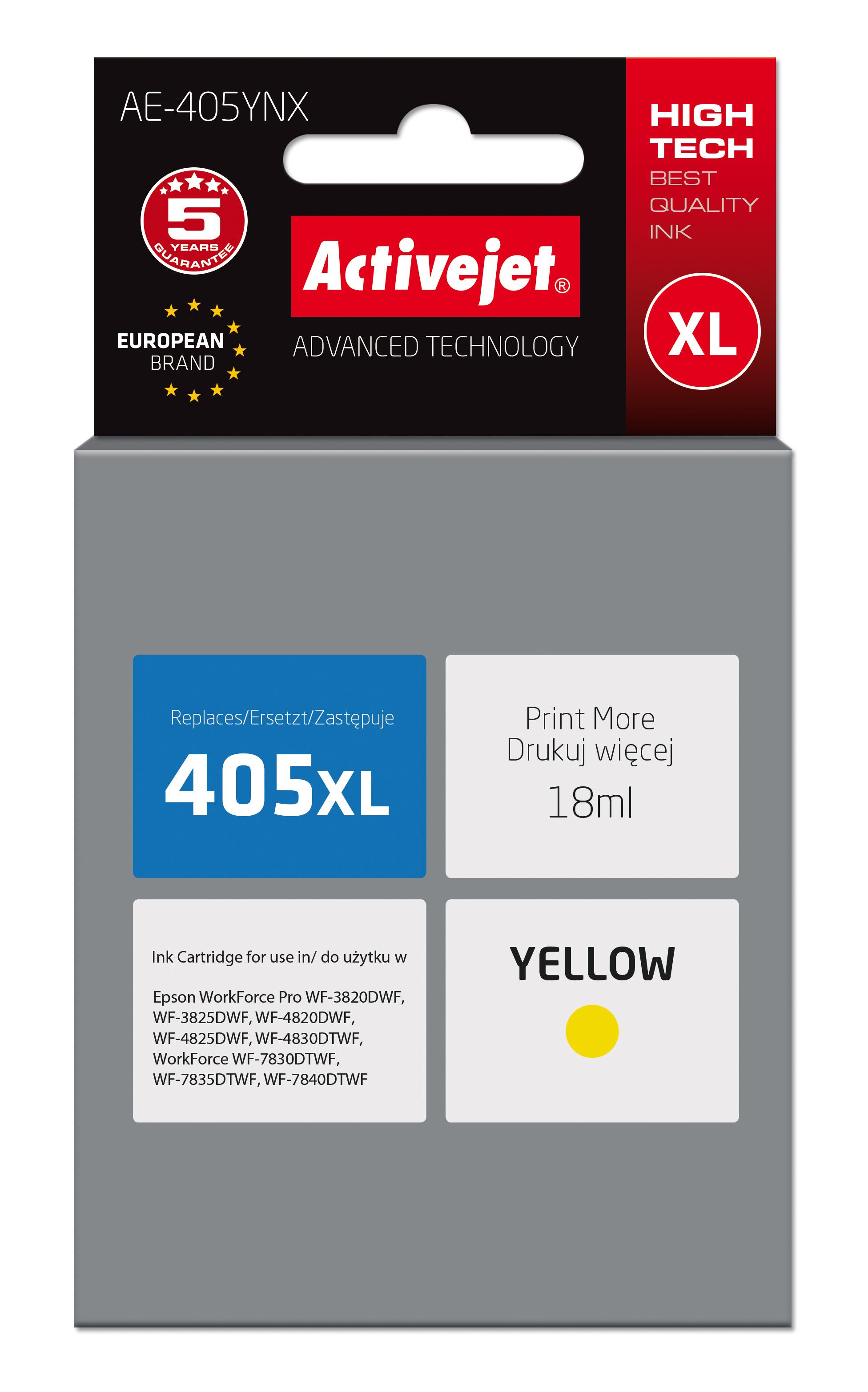 Tusz Activejet AE-405YNX do drukarki Epson, Zamiennik Epson 405XL C13T05H44010;  Supreme; 18 ml; żółty.