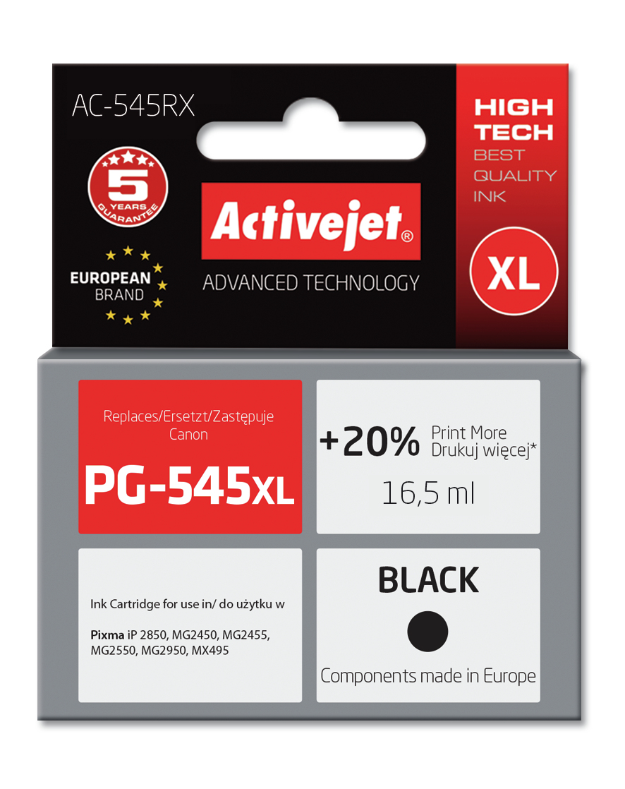 Tusz Activejet AC-545RX do drukarki Canon, Zamiennik Canon PG-545XL;  Premium;  15 ml;  czarny. Drukuje więcej o 20%.