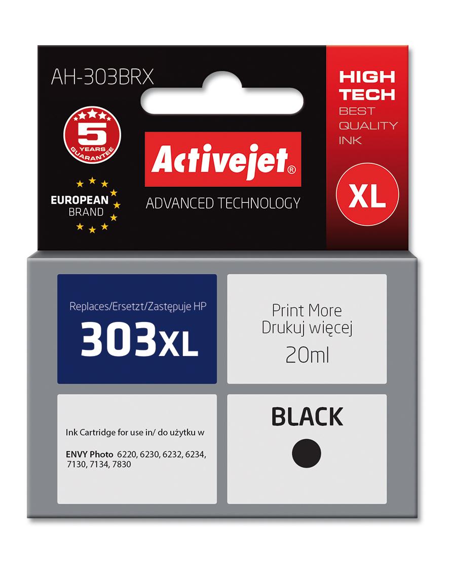 Tusz ActiveJet AH-303BRX do drukarki HP; zamiennik 303XL T6N04AE; Premium; 20ml; czarny.