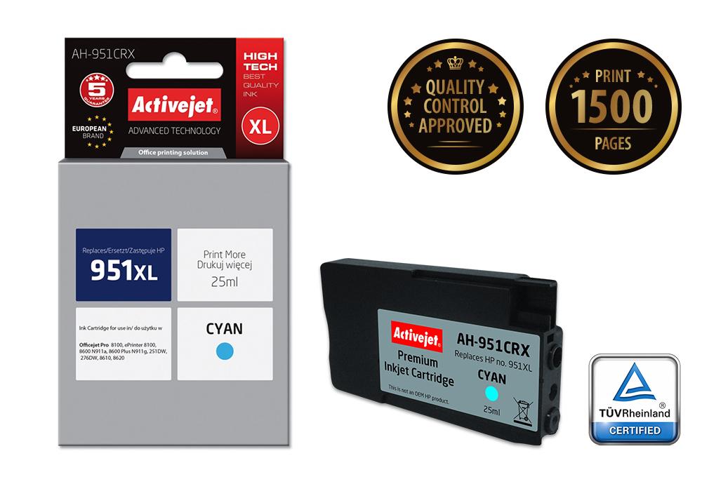 Tusz Activejet AH-951CRX do drukarki HP, Zamiennik HP 951XL CN046AE;  Premium;  25 ml;  błękitny.
