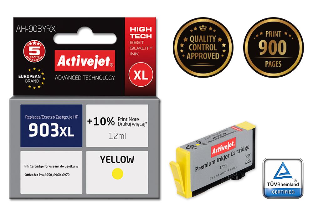 Tusz Activejet AH-903YRX do drukarki HP, Zamiennik HP 903XL T6M11AE;  Premium;  12 ml;  żółty.