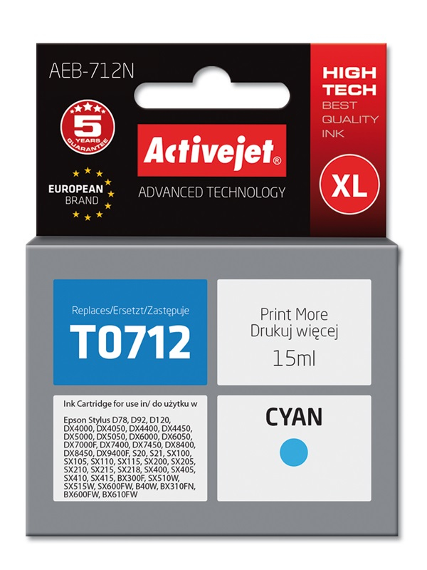 ACJ tusz Eps T0712 Cyan D78/DX4000/DX 6000 AEB-712