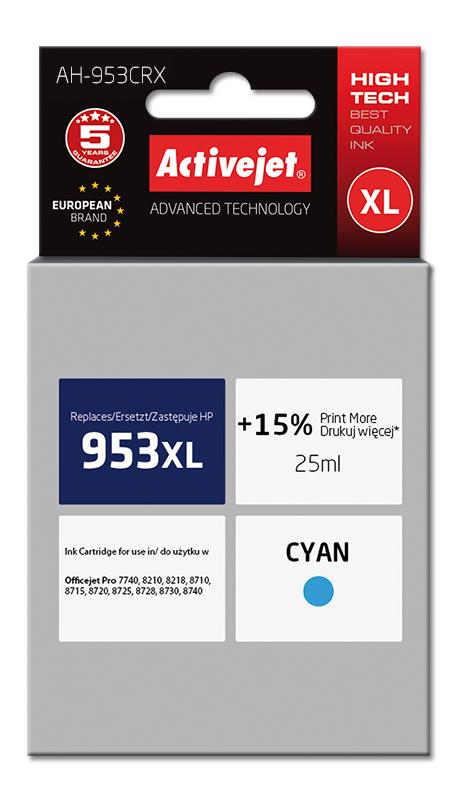 Tusz Activejet AH-953CRX do drukarki HP, Zamiennik HP 953XL F6U16AE;  Premium;  25 ml;  błękitny. Drukuje więcej o 15%.