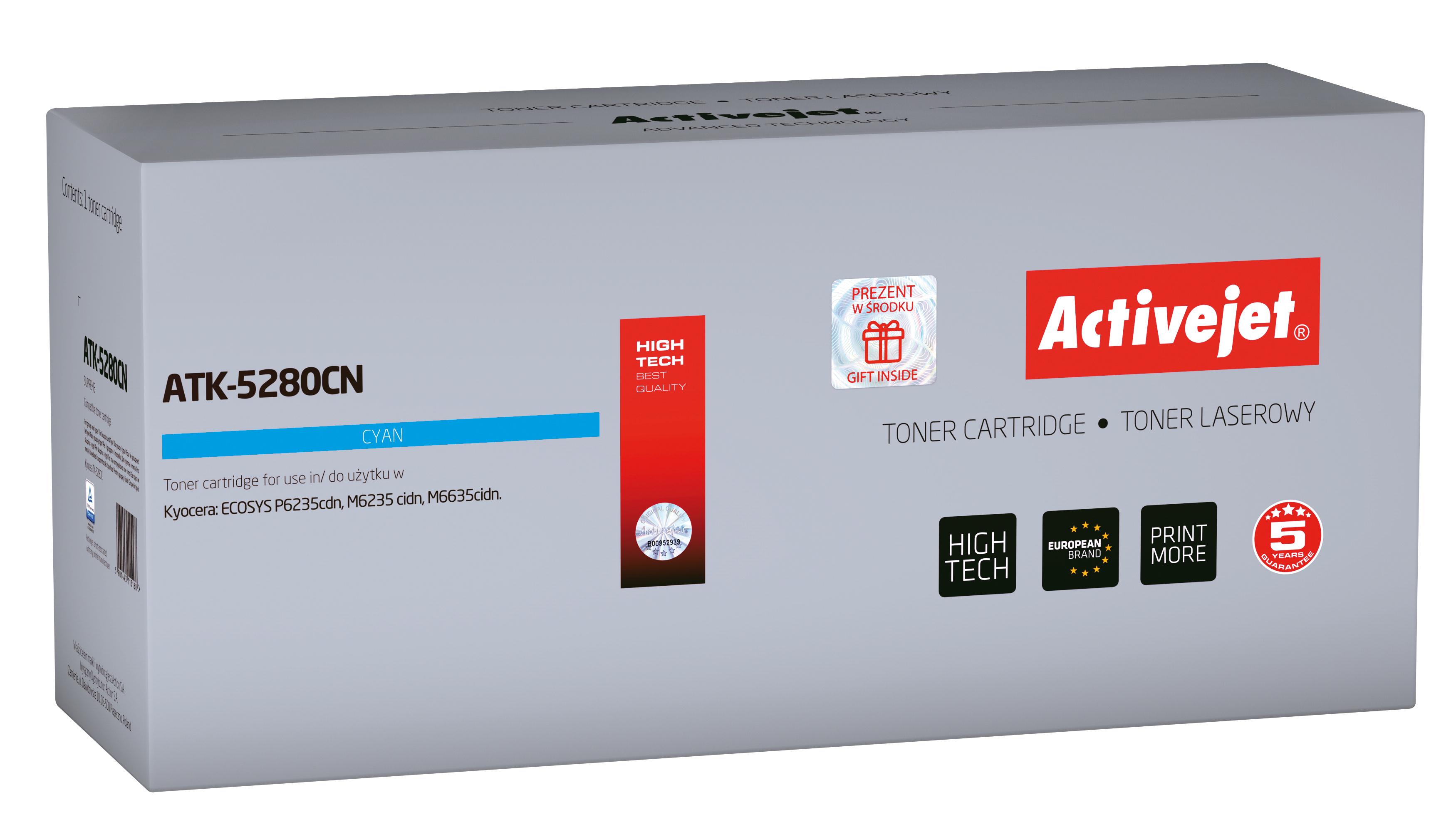 Toner Activejet  ATK-5280CN do drukarki Kyocera, Zamiennik Kyocera TK-5280C; Supreme; 11000 stron; Błękitny.