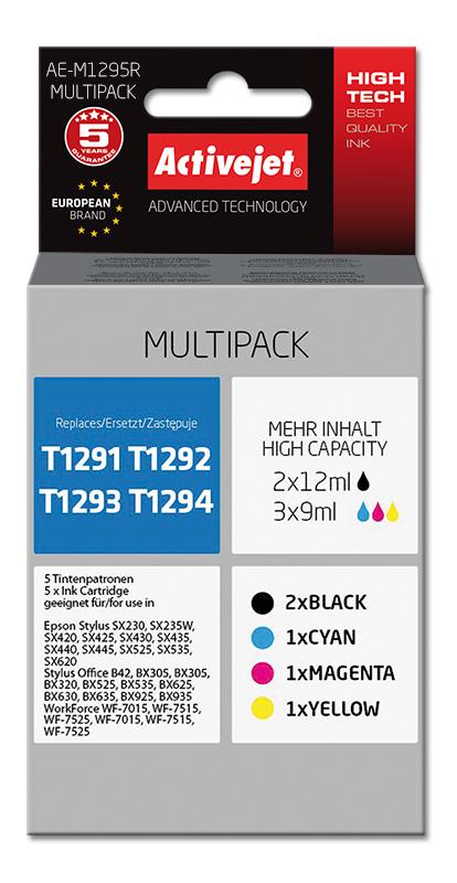 Zestaw tuszy Activejet AE-M1295R do drukarki Epson, Zamiennik Epson T1295; 2 x 12 ml, 3 x 9 ml.; czarny, purpurowy, błękitny, Żółty.
