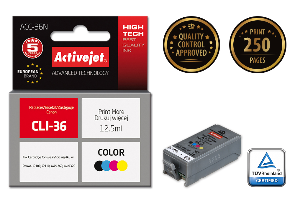 Tusz Activejet ACC-36N do drukarki Canon, Zamiennik Canon CLI-36;  Supreme;  12.5 ml;  kolor.