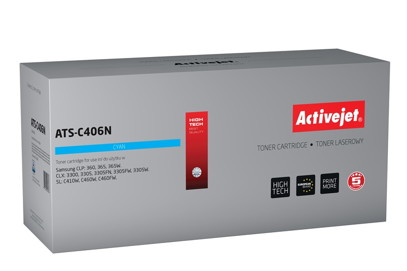 Toner Activejet ATS-C406N do drukarki Samsung, Zamiennik CLT-C406S;  Supreme;  1 000 stron;  błękitny.