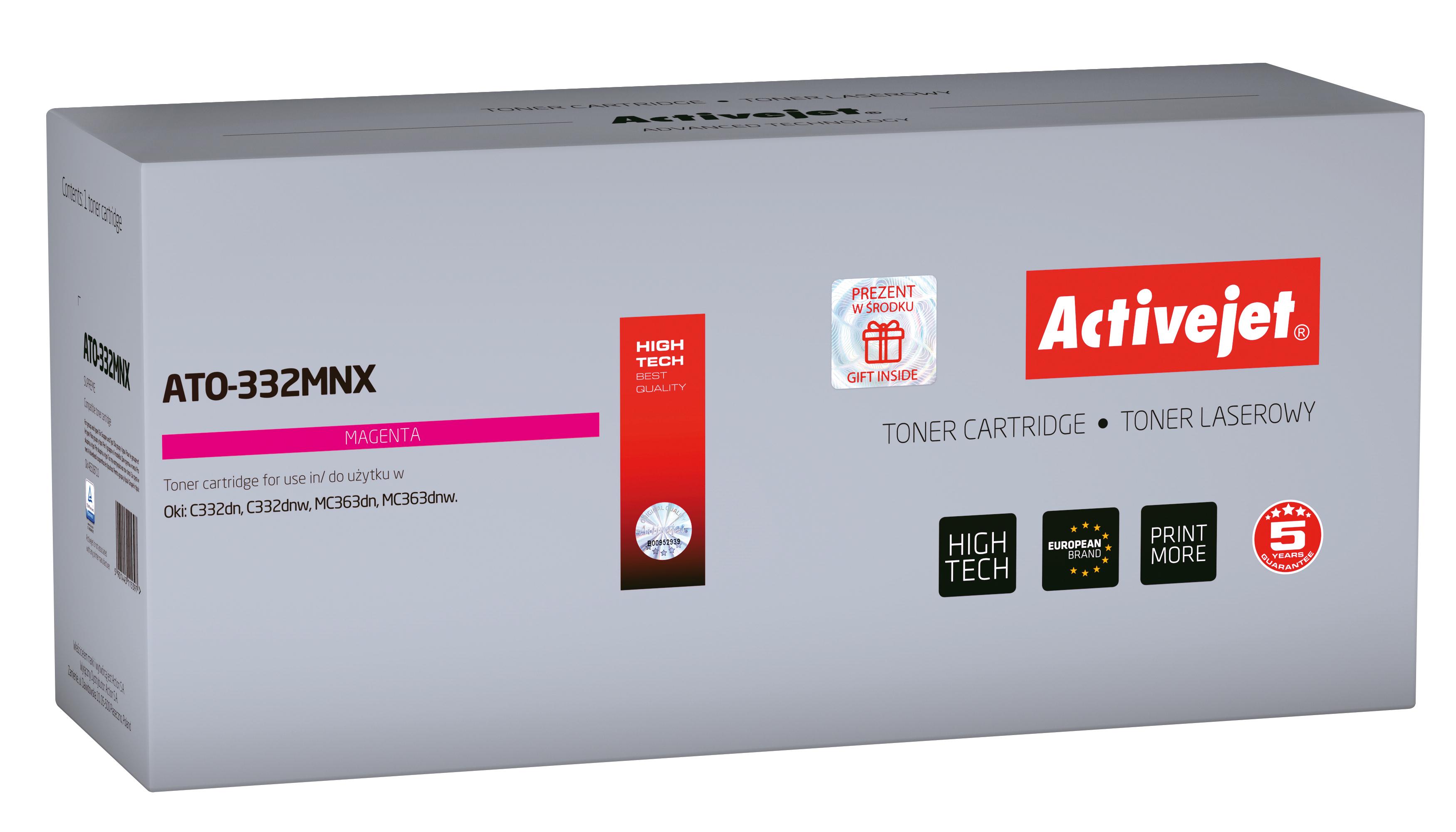 Toner Activejet  ATO-332MNX do drukarki OKI, Zamiennik OKI 46508710; Supreme; 3000 stron; Purpurowy.
