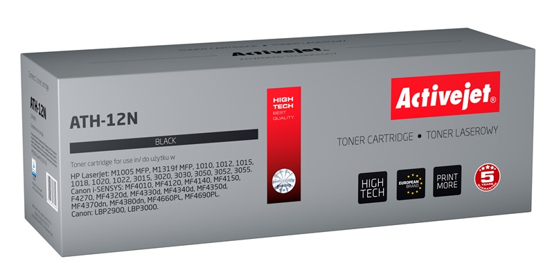 Toner Activejet ATH-12N do drukarek HP, Canon, Zamiennik HP 12A Q2612A, Canon FX-10, CRG-703;  Supreme;  2300 stron;  czarny.